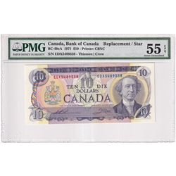 1971 $10 BC-49eA, Bank of Canada, Thiessen-Crow, Replacement, EDX Prefix, PMG Certified AU-55 EPQ