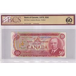 1975 $50 BC-51a-I, Bank of Canada, Lawson-Bouey, 3 Letter, EHC Prefix, BCS Certified UNC-60 Original