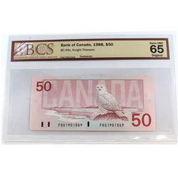 1988 $50 BC-59c, Bank of Canada, Knight-Thiessen, FHU Prefix, BCS Certified GUNC-65 Original