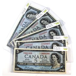 Lot of 5x 1954 Bank of Canada $5 Modified Portrait Banknotes Ranging from VF to EF Grade (notes have