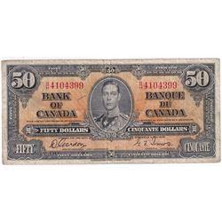 1937 $50 BC-26b, Bank of Canada, Gordon-Towers, B/H Prefix, F-VF (Tears)