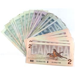 Mixed Lot of $2, $5, $10 & $20 Canada Bird Series Banknotes in Average Circulated or Better Conditio