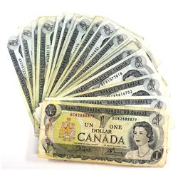 Group Lot of 27x Canada $1 Banknotes in Average Circulated Condition. 27pcs