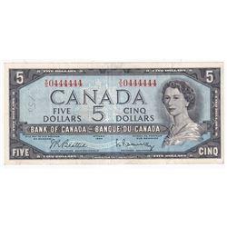 1954 $5 BC-39b, Bank of Canada, Beattie-Rasminsky, Neat Serial Number X/S0444444, VF-EF (Writing)