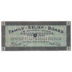 DE-070-1b, 5c, Family Relief Board of Kitchener Ontario Relief Voucher