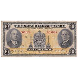 1935 $10 630-18-04, Royal Bank of Canada Banknote Low Sheet # S/N000620
