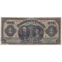 1911 $1 DC-18d, Dominion of Canada, Boville, Black Line, G-VG (Tear)