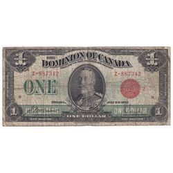 1923 $1 DC-25g, Dominion of Canada, Red Seal 2, VG (Hole)