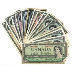 Mixed Lot of $1 to $20 1954 Canada Modified Portrait Banknotes in Average Circulated Condition. You