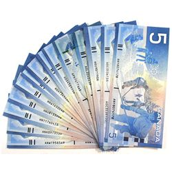 Lot of 15x $5 Journey Series Canada Banknotes with all Different Prefixes. 15pcs