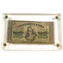 1870 Dominion of Canada 25c Shinplaster Note in Acrylic Slab Holder.