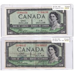 Pair of 1954 $1 Devil's Face Banknotes - BC29a, Coyne-Towers, Prefix B/A, VF & BC-29b, Beattie-Coyne