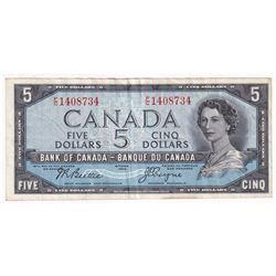 1954 $5 BC-31b, Bank of Canada, Devil's Face, Prefix F/C, VF (Stain)