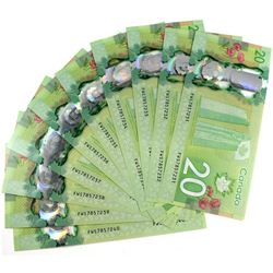 Run of 10x 2015 $20 Canada Polymer Banknotes in Sequence S/N FWS7857231-240. 10pcs