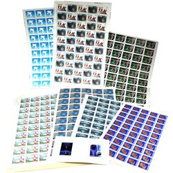 Estate Lot of Canadian Collector Stamps. All but 1 Stamp in Blocks of 2 or more. $100 Face Value.