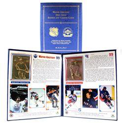 1999 Wayne Gretzky 22K Gold Rookie and Career Cards in Official Presentation Folder.