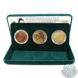1996 Hamilton, Ontario 150th Birthday 3-Medal Set in Green Felt Display Box with Informative Card. T
