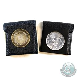 Lot of 2x Different Medallions in Leather Snap Pouches. You will receive City of Sudbury Canada Laur