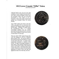 """1812 Lower Canada"""" Tiffin"""" Brass Token Circa 1830-1835 with informational display card"""