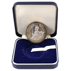 1973 Cook Islands $2 20th Anniversary of Coronation Silver Proof Coin in original blue case. Coin co