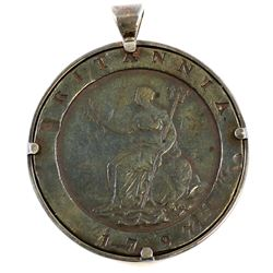 1797 British Cartwheel Token in Silver Bezel.