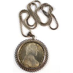 """1780 Austria Thaler Maria Theresia Restrike in Bezel with Sterling Silver 24"""" Chain."""
