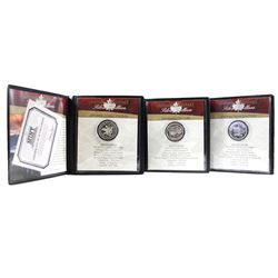 1971, 1973, 1974 Canada Silver Dollar Collection in First Commemorative Holders. 3pcs.