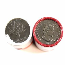 2017 Canada 50-cent Coat of Arms & Canada 150th Special Wrap Rolls. 2pcs.