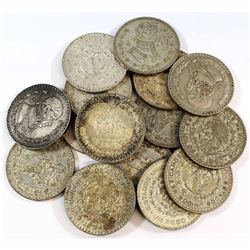 Mixed Lot of Mexico 1 pesos Silver coins dated between 1958-1967. 16pcs