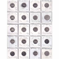 20x 1955-2016 Canada Errors & Varieties 5-cent coins. 20pcs. Errors and Varieties are listed on the
