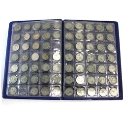Estate Lot of Canada Silver 10-cents dated 1915 to 1968 in Uni-Safe Folder. 89 pcs