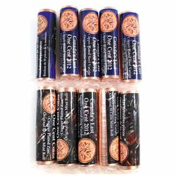 *10x 2012 Canada's Last One Cent Coins Original Rolls of 50pcs - you will receive 5x Zinc and 5x Ste