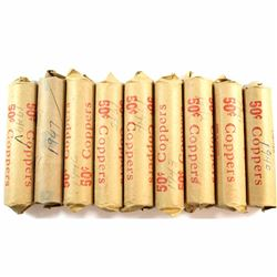 * Estate Lot of 1940-1949 Canada George VI solid date 1-cent Rolls. 9 rolls.