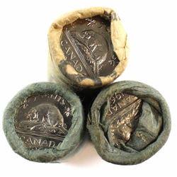 1963, 1964 & 1965 Canada 5-cent roll of 40pcs. 3pcs