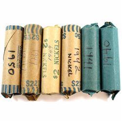 1940, 1941, 1942, 1947, 1949 & 1950 Canada 5-cent rolls. 6pcs