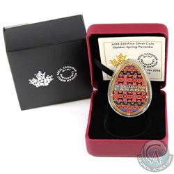 2018 Canada $20 Golden Spring Pysanka (Egg Shaped) Fine Silver Coin (Tax Exempt)