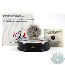 2009 Montreal Canadiens Special Edition Sterling Proof Dollar & Acrylic Stand. Coin contains faint t