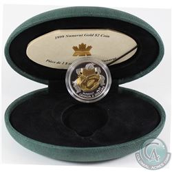 1999 Canada $2 22K Nunavut Commemorative Gold Coin in Green Clamshell case with COA. Contains 0.1848