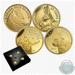 2016/2017 Canada 25-cent Predator vs. Prey Fine Gold 4-coin Set in RCM Issue Display (Tax Exempt). Y