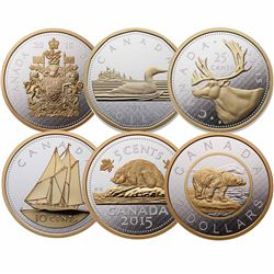 Complete 2015 Canada 5 oz. Gold Plated Big Coin Series 6-Coin Set (Tax Exempt). Coins come in the or