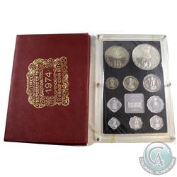 India Mint Issue: 1974 Republic of India 10-coin Proof Set with Medallion. Comes with all original M