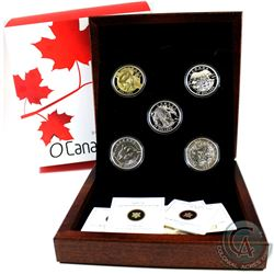 2013 Complete $25 O Canada 5-coin Set with Deluxe RCM Issued Box (Tax Exempt). Polar Bear coin conta