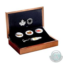 2016 Canadian Salmonids $20 3-coin Set with Fishing Lure in Deluxe RCM Case (Tax Exempt). Please not