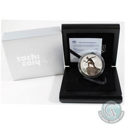 Russia Mint Issue: 2014 Sochi Olympics 3 Roubles Speed Skating Sterling Silver Proof Coin (display b