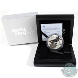 Russia Mint Issue: 2014 Sochi Olympics 3 Roubles Alpine Skiing Sterling Silver Proof Coin.