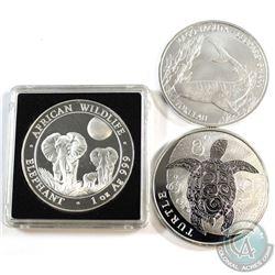 World Mint Issue: 2014 Somali Republic Elephant, 2016 Niue $2 Hawksbill Turtle & 2018 Tokelau $5 Leo