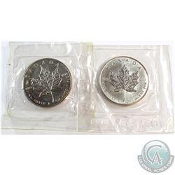 RCM Issue: 1988 & 1990 Canada 1oz .9999 Fine Silver Maple Leafs Sealed in Original Pliofilm Plastic