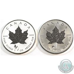 RCM Issue: 2014 Horse & 2015 Sheep Privy Canada $5 1oz .9999 Fine Silver Maple Leafs. 2pcs (TAX Exem