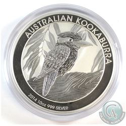 Perth Mint Issue: 2014 Australia $10 Kookaburra 10oz .999 Fine Silver Coin in Capsule (scuffed capsu