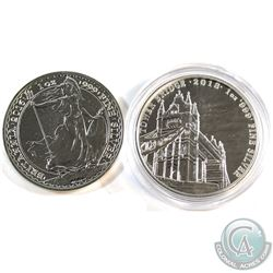 Royal Mint Issue: 2016 Great Britain 1oz .999 Fine Silver Britannia & 2018 Tower Bridge 1oz .999 Fin